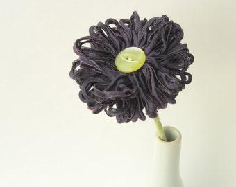 Aubergine Ribbon Flower a handmade artificial flower