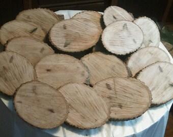 20 Pc Unique Shaped Hardwood Log Slices Wood Disk Rustic Wedding Centerpiece