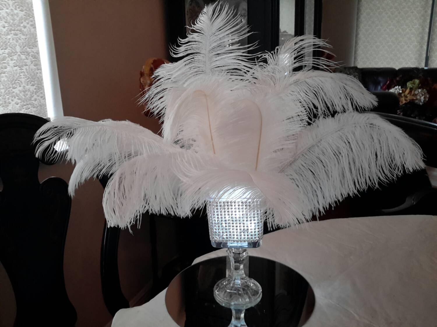 Ostrich feather square lighted bling vase centerpiece zoom reviewsmspy
