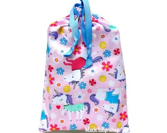 Unicorn Holder For Personal Planners Pink Blue Unicorns Drawstring Pouch Kids Tote Bag