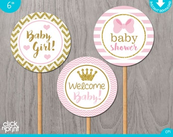 Pink and Gold Print Yourself Girl Baby Shower Centerpieces, Pink and Gold Girl Baby Shower Decoration