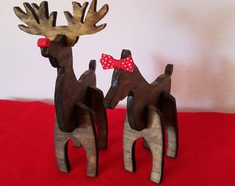 Reindeer Decoration Ornament Rudolph and Clarice Holiday Christmas Table Shelf Centerpiece