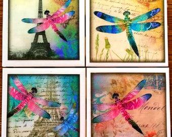 Dragonflies in Paris Coaster Set - Free U.S. Shipping - Coasters - Dragonflies - Dragonfly - Ceramic Tile - Couples Gift - Set of 4