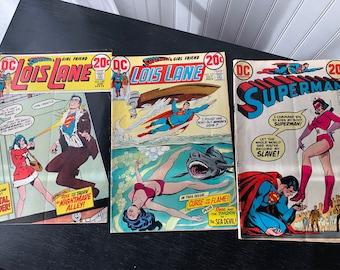 Vintage DC Comic Books, DC Lois Lane 127, 130, DC Superman 261, 1970's Comic Books
