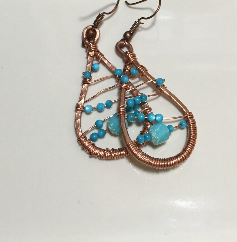 Copper wire tear drop earrings, copper wire blue czech beaded ...