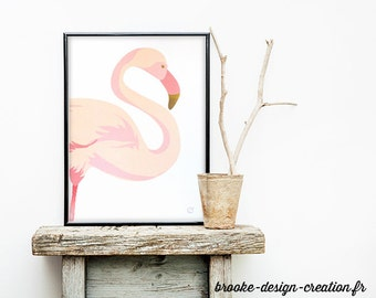 Pink Flamingo poster - customizable - gilding - color-decoration - child - room