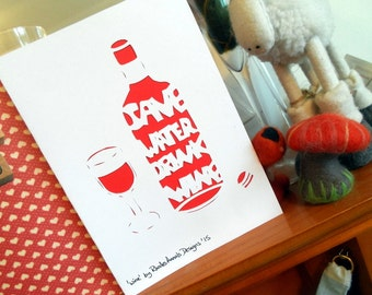 Save Water, Drink Wine - Papercutting template to cut your own card (personal use)