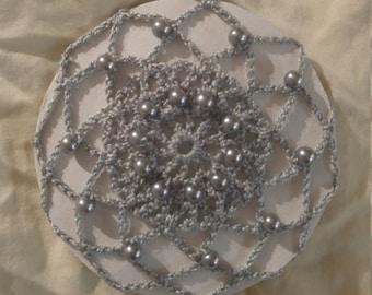 Crochet Gray Bun Cover Snood Hair Accessory with Beads