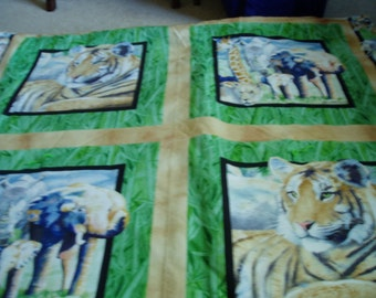 Tiger, Giraffe, Elephant, Rhino, Lioness Quilt/Throw Blanket