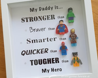 Personalised Superhero frame, great fathers day gift daddy frame