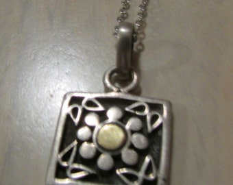 Sterling Silver Flower Design Pendant on Sterling Chain