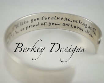 I'll Love You Forever, I'll Like You For Always, As Long As I'm Living, My Baby You'll Be Hand Stamped Secret Message Bracelet