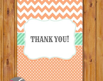 "Peach & Mint Thank You Card Chevron and Polka Dots Flat Card Print Your Own All Occasion 4""x6"" Digital Instant Download (ty-204)"