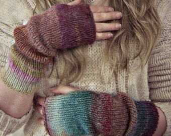 Fingerless Gloves | Boho Knit Arm Warmers | Fingerless Mittens | Knitted Boho Gloves | Long Arm Warmers |Slouchy  Arm Warmers | Fall Fashion