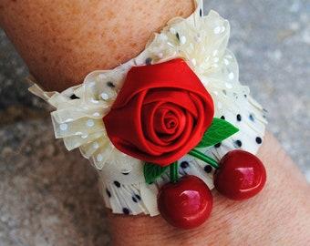 Sale Womans Red Rose Cherry Rockabilly Ruffle Cuff Polka Dot Stretch Bracelet