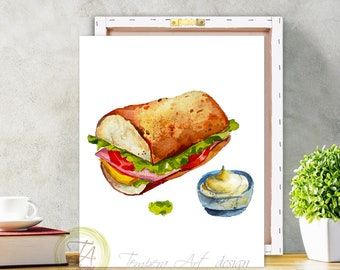 Food Art, Sandwich Print, Meal Art, Kitchen Art, Sandwich, Kitchen Print, Food Print, Eat Your Sandwich, Canvas Sandwich