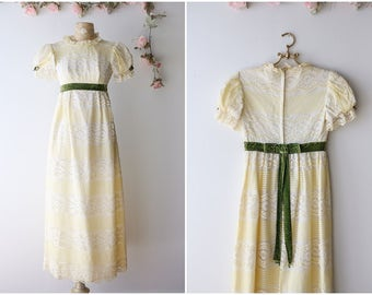 Vintage 1960's Babydoll Maxi Dress - Pastel Yellow and Cream Lace Dress - Romantic Empire Waist Maxi Gown - Size Extra Small