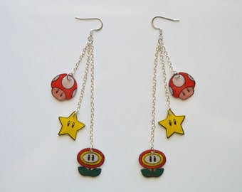Super Mario Bros Inspired Earrings, Nickel Free Jewelry