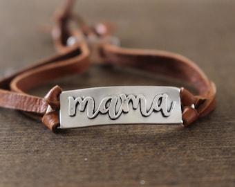 Mama bracelet, Mothers Leather Bracelet, Adjustable leather bracelet, Silver Mama Bracelet, Boho Bracelet, Mothers Day Gift
