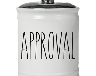 Approval Word Jar With Lid - Money Coin Jar - Money Bank - Money Jar - Money Jar With Lid