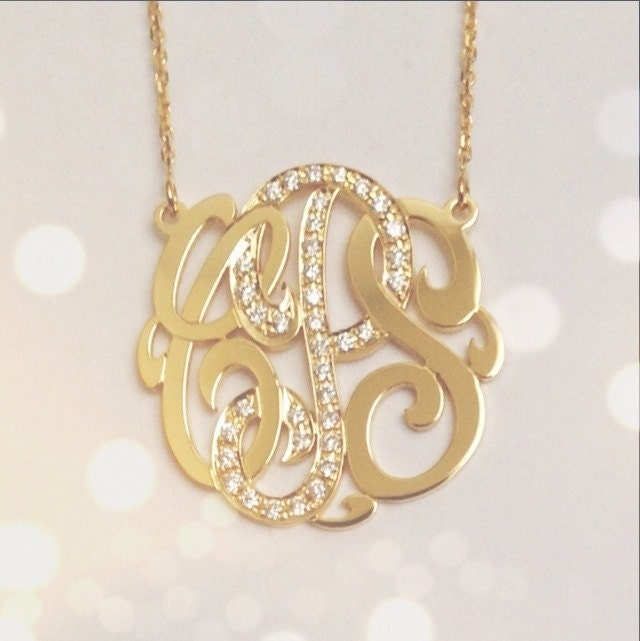 Luxury monogram initial necklace gold best jewelry small 14k gold monogram necklace with diamond middle initial aloadofball Gallery