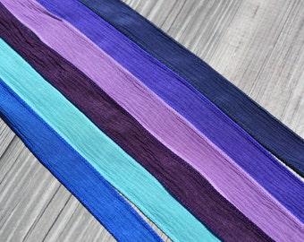 RIVER WALK Silk Ribbon Assortment Hand Dyed Silk Ribbons Qty 6 Crinkle Silk Ribbon Strings, Purple, Violet, Grape, Navy, Sapphire, Turquoise