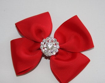 Red bow, red bow on croc clip, red ribbon bow with sparkling centre, red hair clip, red hair accessories, croc clip,red boutique bow, Ruby62