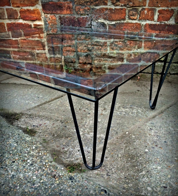 Industrial Chic Coffee Table: Industrial Chic Hairpin Glass Coffee Table Steel Metal Hand