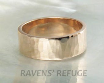 7mm hammered rose gold wedding band, also offered in white gold and yellow gold