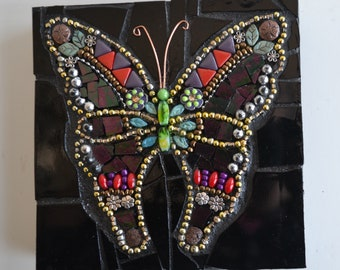 Dark Purple Butterfly - Indoor Mixed Media Mosaic Wall Hanging