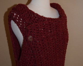 Long Burgundy Crochet Vest