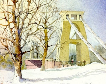 Bristol Clifton Suspension Bridge Isambard Kingdom Brunel Grade 1 Listed Toll Bridge Tower Winter Snow Scene Mounted Watercolour Art Print