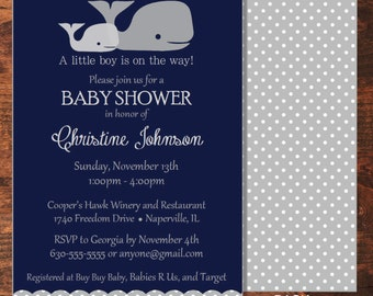 Navy and Polka Dots Whale Baby Boy Shower Invitation with Envelopes