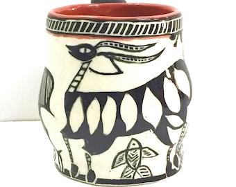 MUG SGRAFFITO Carved - Tribal African Folk Art Design - Line Drawn Animals - Inspired by Ethnic Folk Art