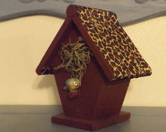 Small Decorative Bird House / Brown Paint - Leopard Print Roof / Bird & Nesting Material