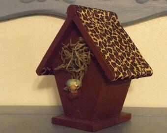 Small Decorative Bird House / Brown Paint - Leopard Print Roof / Bird & Nesting Material