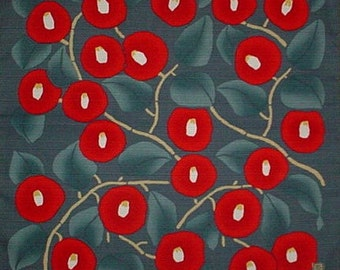 Asian Fabric Japanese Furoshiki Cloth Takehisa Yumeji 'Aonezu Tsubaki Camellia' Cotton Floral Kawaii Fabric 48cm w/Free Insured Shipping