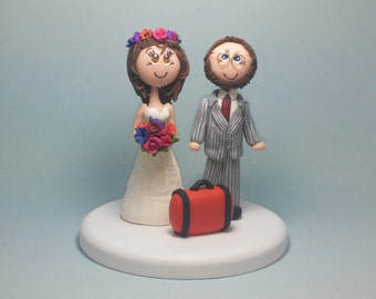 Wedding cake topper, traveler cake topper, custom wedding cake topper, tourist cake topper