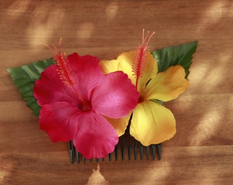 Mistress of all Evil - Hair Flower - Hibiskus - Hawaii - Rockabilly - Vintage - Red - Yellow - 50's - Rock'n'Roll - Pin up