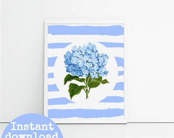 Blue hydrangea on blue and white hand painted stripes - 8x10 inch - floral art print - instant download - Printable digital file