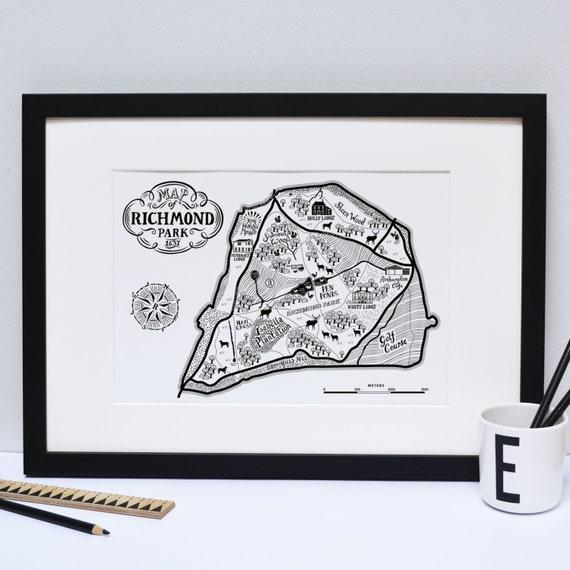 Richmond park Map Print London print London poster