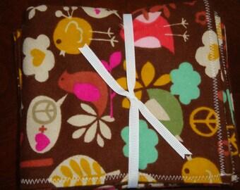 Brown Birdie Baby Burp Cloths