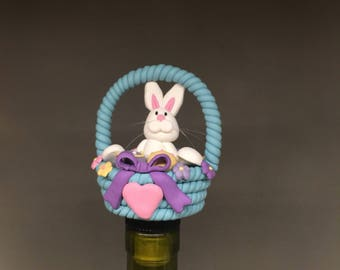 Easter wine etsy easter wine stopper easter gift wine gifts rabbit bunny adult easter negle Images