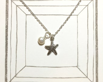 Starfish Silverplated Necklace, Seastar Necklace, Beach Wedding Jewelry, Beach Jewelry, Fresh Water Pearl Necklace, Bridesmaid Necklace