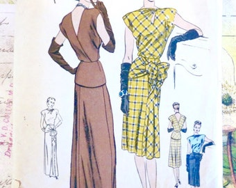 Vogue 4671 - Vintage 1940s Peplum Dress Pattern in Evening or Street Length