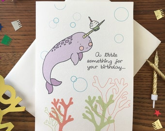 Narwhal Card. Narwhal Birthday Greeting.  Nautical Birthday Card. Card for friend. Single card. Narwhal Stationary. BFF Card. Animal card