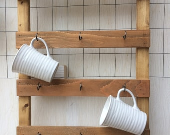 PERSONALIZED Coffee Cup Rack, holds 9 cups.New, repurposed wood. Coffeebar rack. Wall decor. Mothers Day