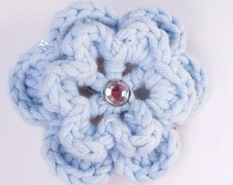 Light Blue Crocheted Flower Barrette Free Ship
