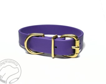 """Biothane Dog Collar / Royal Purple 1"""" (25mm) Wide - Leather Look and Feel - Buckle Tag Dog Collar - Your Choice of size and hardware type"""