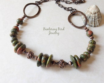 Earthy Olive Green Beaded Stone Necklace, Unakite and Hammered Copper, Rustic Copper Jewelry, Unique Gift